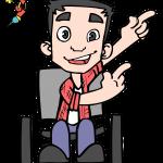 tom, o mascote, personagem do blog, homem cadeirante DE LADO, COM SORRINDO E APONTANDO COM AS DUAS MÃOS PARA A DIREITA, usa uma camisa de manga longa rosa, outra por dentro branca, calça jeans azul e sapatos pretos. NO CANTO SUPERIOR ESQUERDO SEU AMIGO TONY, UM BONECO DO HOMEM DE FERRO NAS CORES AMARELO E VERMELHO APONTANDO E SORRINDO.