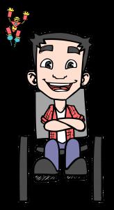 tom, o mascote, personagem do blog, homem cadeirante DE FRENTE COM SORRISO LARGO E BRAÇOS CRUZADOS, usa uma camisa de manga longa rosa, outra por dentro branca, calça jeans azul e sapatos pretos. NO CANTO SUPERIOR ESQUERDO SEU AMIGO TONY, UM BONECO DO HOMEM DE FERRO NAS CORES AMARELO E VERMELHO COM OS BRAÇOS PARA CIMA E SORRINDO.