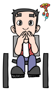 tom, o mascote, personagem do blog, homem cadeirante, COM CARA DE PERPLEXO E COM AS MÃOS SOBRE A BOCA, usa uma camisa de manga longa rosa, outra por dentro branca, calça jeans azul e sapatos pretos. NO CANTO SUPERIOR SEU AMIGO TONY, UM BONECO DO HOMEM DE FERRO NAS CORES AMARELO E VERMELHO COM AS MÃOS NA CABEÇA.